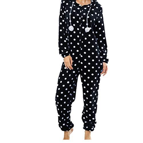 - Gallity Womens Pajamas Homewear Fashion Printing Hooded Flannel Long Sleeve Onesies Tracksuit (M, Navy)