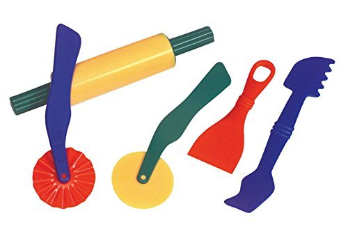 School Smart Plastic Dough Tools - Set of 5 - Assorted Colors - School Tools