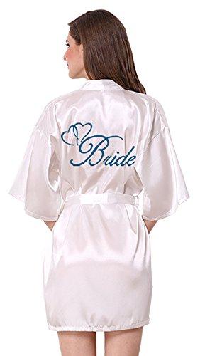 JOYTTON Women's White Satin Kimono Robe With Lake Blue Embroidered Bride XXL (Embroidered Peignoir)