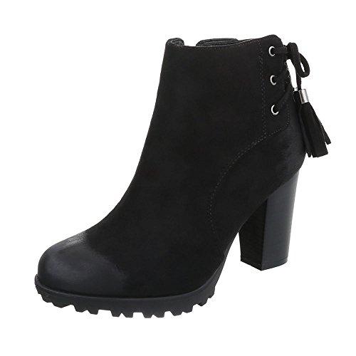 plisadas Botas negro Design Ital Mujer x5UEIIPwqn