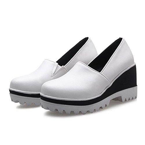 Amoonyfashion Donna Pull On Tacchi Alti Tacchi Alti Pu Pompe-scarpe Bianche
