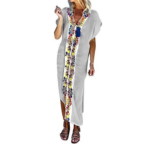 Women Vintage Maxi Sleeveless O Neck Short Sleeve Plus Size Bohemian Print Plaid Long Dress White -