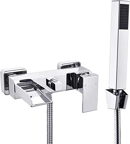 [Wall Mounted] Hapilife Chrome Bath Filler Waterfall Mixer Tap Bathroom Handheld Shower Head (DT10F)
