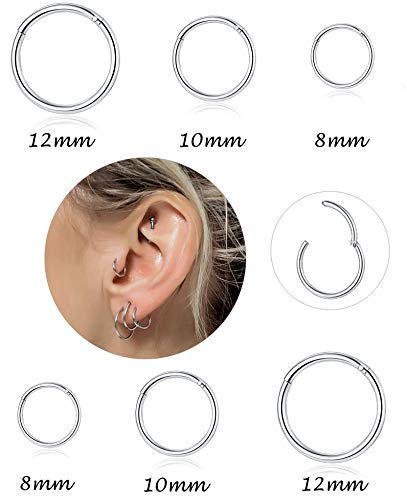 (Tornito 3-8 PCS 18G-16G-14G 8-12MM 316L Steel Septum Clicker Ring Seamless Lip Nose Daith Cartilage Helix Tragus Hoop Ring)