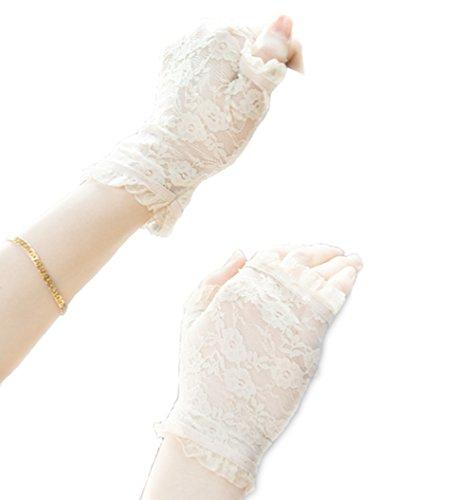 (Gauss Kevin Short Lace Gloves UV Protection Fingerless Gloves Prom Party Driving Wedding Decor (Cream))