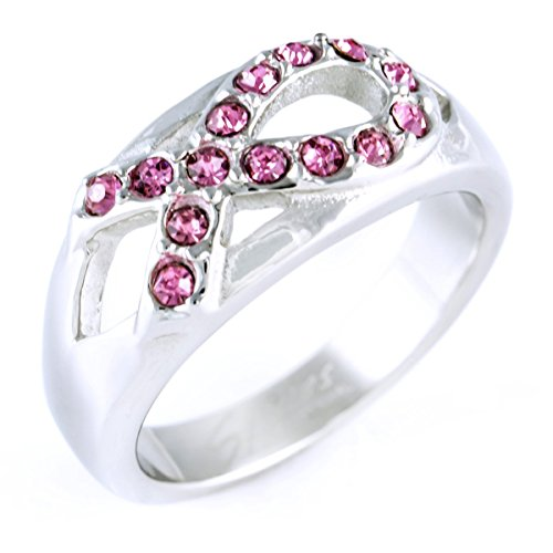 Pink Ribbon Breast Cancer Awareness High Polish Wedding Band with Pink CZ Cubic Zirconia - Size 5 - Pink Ribbon Ring