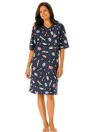 Dreams & Co. Women's Plus Size Short Knit Sleepshirt Dark Navy Bubbles,M/L
