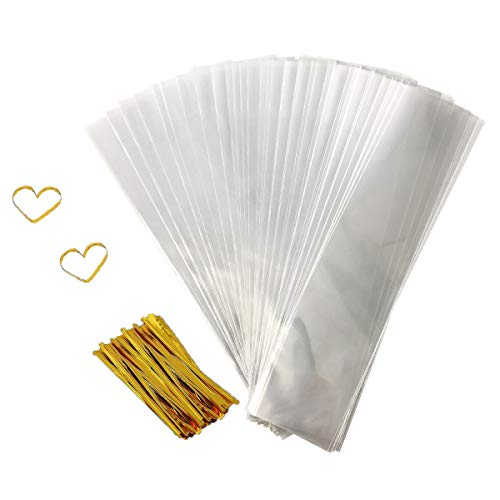 Cellophane Goody Bags 200 PCS Clear Treat Bags Pretzel Bags for Party Favor Candies Goodies Bags with 200 PCS Metallic Twist Ties (2.4 by 10 Inch)]()