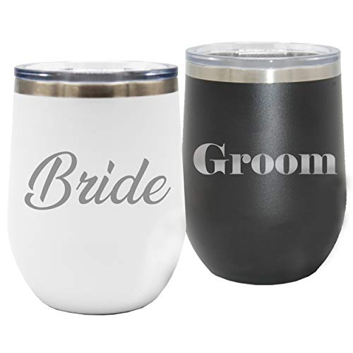 Bride and Groom Insulated Wine Tumbler - Set of 2 - Wedding Favor, Rehearsal Dinner Party, Couples, Reception ()