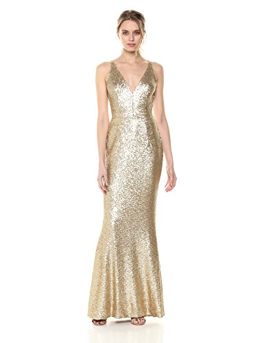 (Dress the Population Women's Harper Sequin Sleeveless Plunging Long Gown, Brushed Gold,)