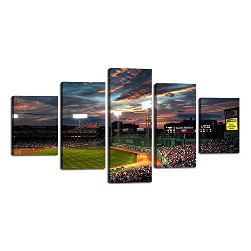 5 Piece Canvas Wall Art Modern Fenway Park Painting Landscape Artwork Sports Game Picture Print for Living Room Office Home Decor House Warming Present Stretched Framed Ready to Hang ()