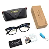 Cyxus Blue Light Blocking Computer Glasses for Anti Eye Strain UV Transparent Lens Black Frame Reading Glass Unisex (Men/Women) (classic black)