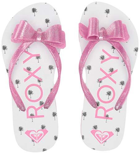 Roxy Girls' RG Lulu Flip Flop Sandal, White/HOT Pink 3, 5 M US Big Kid
