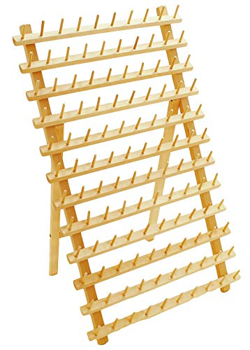 Hardwood 120 Spool Thread Rack with Wall Hanging Hardware for Sewing Quilting Embroidery threads Mini - Wooden Spool Mini