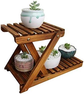 LINlq デスクトップ花はソリッドウッドマルチレイヤバルコニーの花木製肉質フラワーシェルフ屋内表をラックスタンド