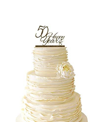 KISKISTONITE Glitter Gold 50 Happy Years Wedding Anniversary