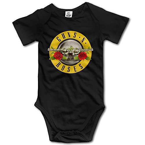 Annabelle Infants Boy's & Girl's Guns Rose Short Sleeve Bodysuit Outfits For 6-24 Months Black 18 (Forrest Gump Outfit)