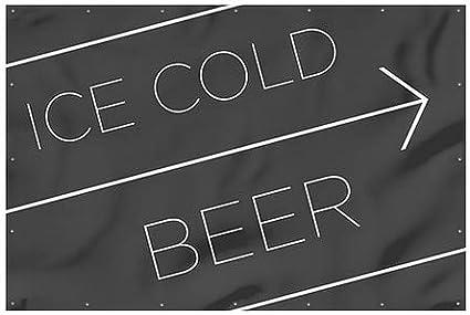 CGSignLab Basic Black Heavy-Duty Outdoor Vinyl Banner 12x8 Ice Cold Beer