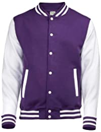 Unisex Varsity Jacket Medium Purple / White