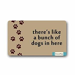 FavorPlus There's, Like A Bunch of Dogs in Here Doormat Door Mat Machine Washable Rug Non Slip Mats Entrance Decor Area Rug 30x18 inch