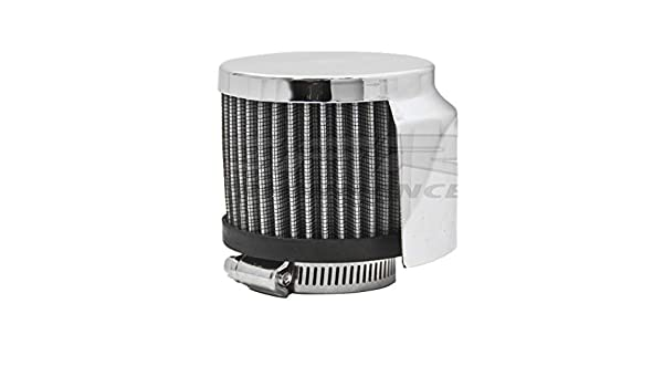"""STEEL COTTON FILTER BREATHER CLAMP ON FOR 1 1//2/"""" TUBES W//SHIELD CHROME"""