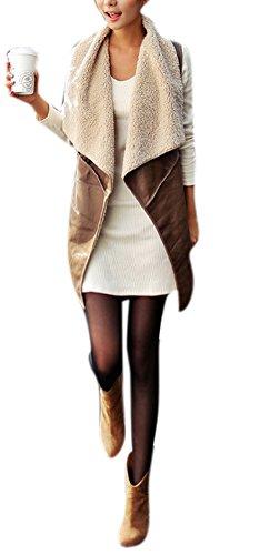 Faux Shearling Vest - Lingswallow Womens Lapel Shearling Suede Vest Brown Drape Cardigan Waistcoat