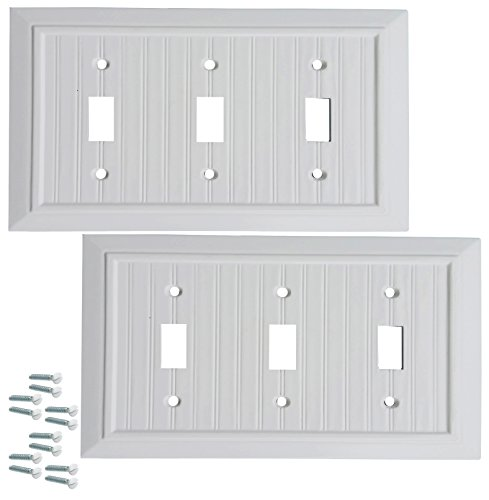 (Pack of 2 Wall Plate Outlet Switch Covers by SleekLighting | Classic Beadborad Wall plates| Variety of Styles: Decorator/Duplex/Toggle/Blank / & Combo | Size: 3 Gang Toggle)