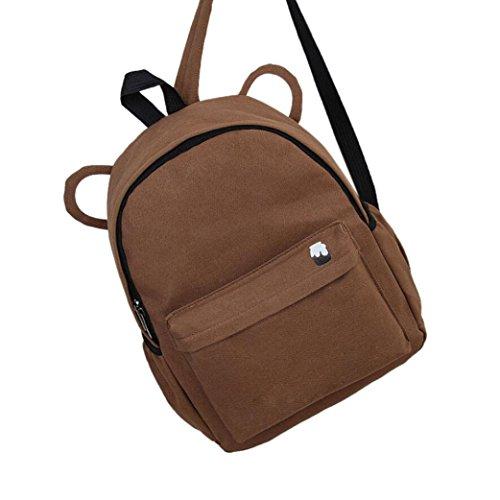 Clearance School Backpack,Rakkiss Women Children Schoolbag Back Pack Leisure Travel Bag Sequins Double Shoulder (Spy Brown Handbag)