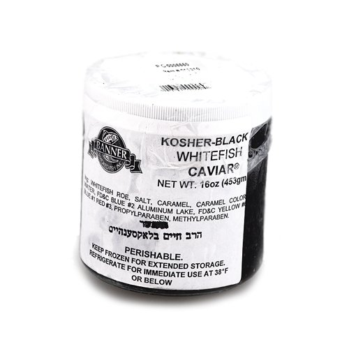 Marky's Kosher Whitefish Caviar, Black from USA – 16 oz