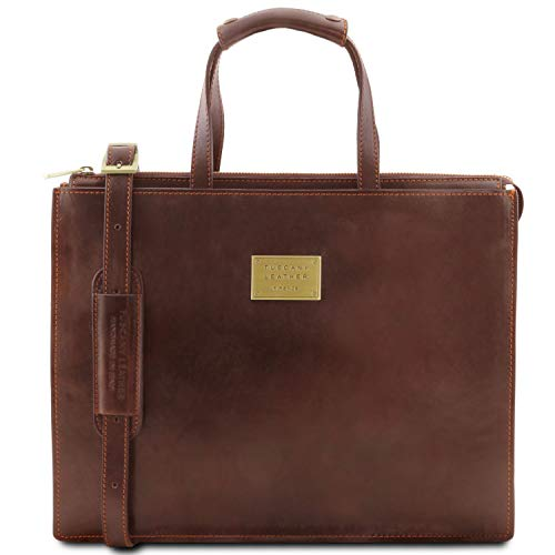 PALERMO Women's Leather briefcase 3 compartments Brown - TL141343/1