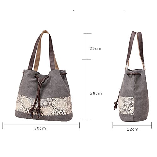 Shopper Canvas Bag Gray For Handbag Shoulder Women Totes Bag Style Vintage M Women's M Students Girl Simple Girl Hobo ELEOPTION Brown Girls 7q0Iz1