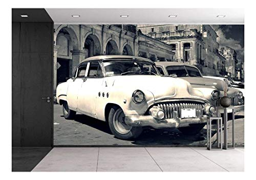 wall26 - Panoramic View of Shabby Old Havana Street with Vintage Classic American Cars - Removable Wall Mural | Self-Adhesive Large Wallpaper - 100x144 inches