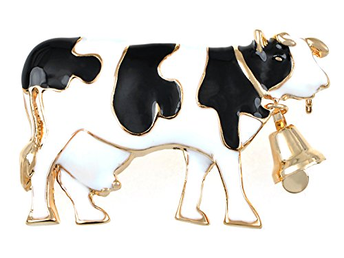 Alilang Womens Black White Painted Enamel Cute Farm Animal Cow Bovine Cattle with Bell Brooch Pin