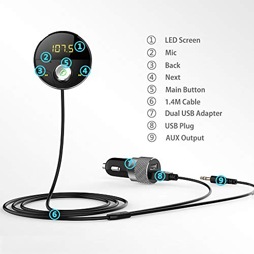DEEWAZ Bluetooth Receiver Car Kit Built-in Noise Filter 3.5mm Jack Bluetooth Aux FM Transmitter Hands-Free Speaker Dual Usb Car Adapter Wireless Radio Audio & 3M Magnetic Mounts Base (Silver) by DEEWAZ (Image #8)