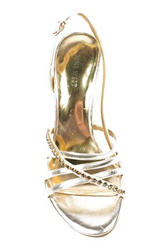 NINE WEST - Sandalias De La Correa De Honda De Trasera Mujer NWMINERVA GOLD Tacón: 9 cm