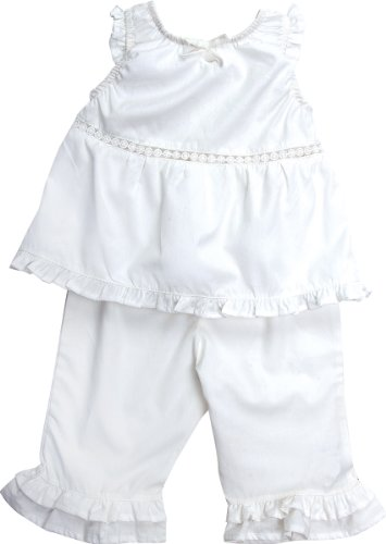 - Under The Nile Poplin Peasant Top with Capri Pants, White, 24 Months