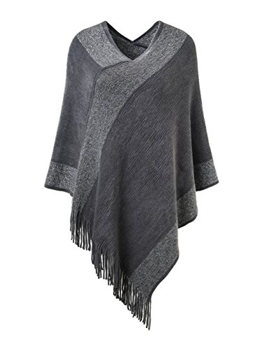 Ferand Stylish Knit Striped V Neck Pullover Poncho with Tassels for Women, One Size, Grey