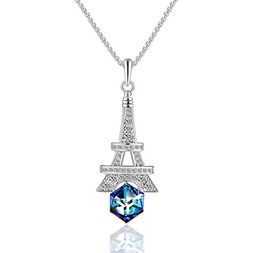 Eiffel Tower Pendant Necklace with Swarovski Cube