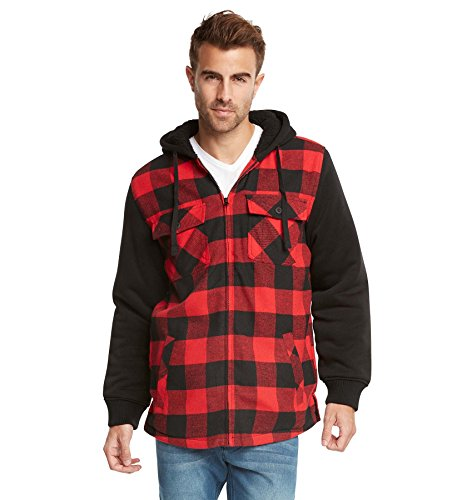 Plaid Hooded Flannel Jacket (9 Crowns Essentials Sherpa Lined Plaid Flannel Hoodie Jacket-Black/Red-2XL)