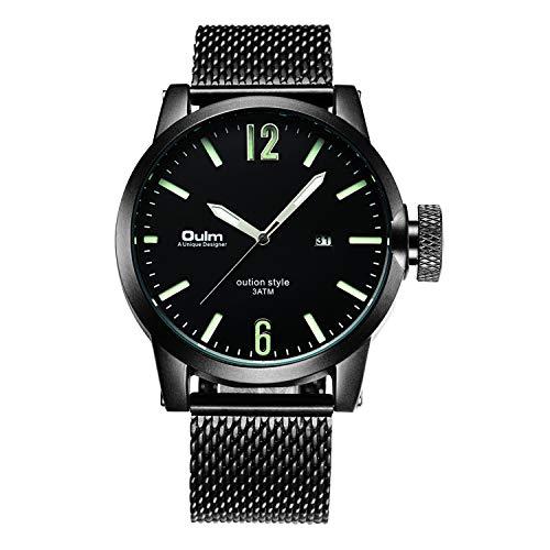 HUANGCHAO Reloj, Reloj De Negocios De Gama Alta para Hombres, Cinta De Malla/Luminosa/Fecha, Regalo