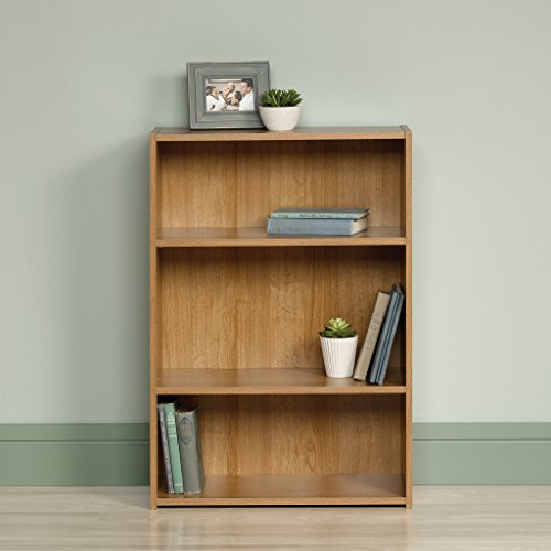 "Sauder 413322 Beginnings 3-Shelf Bookcase, 24.56"" L x 11.45"" W x 35.28"" H, Highland Oak finish"