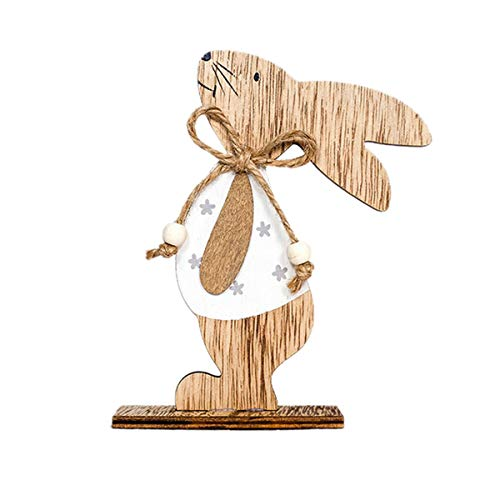 Easter Cute Rabbit Mini Laser Cut Wood Shapes Wooden Rabbit Silhouette Plaque Arts Crafts Bunny Shapes Card Gift Tags Home Decor and Kindergarten Kids Gifts Toys Doll (B, 15x9.5cm) ()