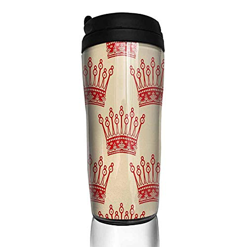 (coffee cups warmer Queen,Crowns Pattern in Red Vintage Design Coronation Imperial Kingdom Nobility Theme,Orange and Tan 12 oz,cup for iced coffee)