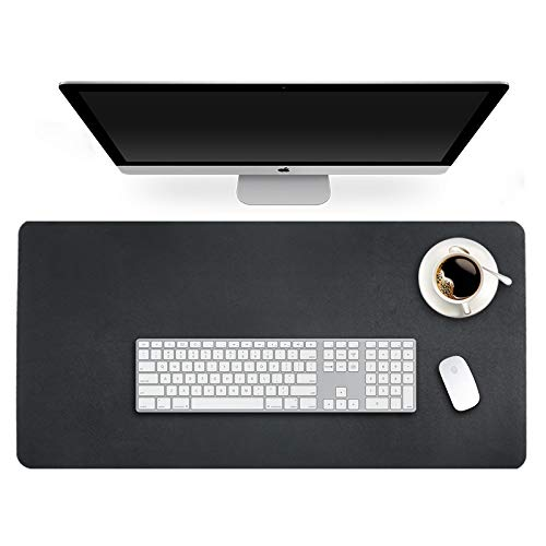 Writing Pad Accessory - Blotter Pad Desk Mat Desktop Accessory on Top of Desks for Writing Table Topper Protector Office Computer Laptop Under Keyboard Mousepad Waterproof Decor PU Leather Black Extra Large XXL 24 X 48 Inch