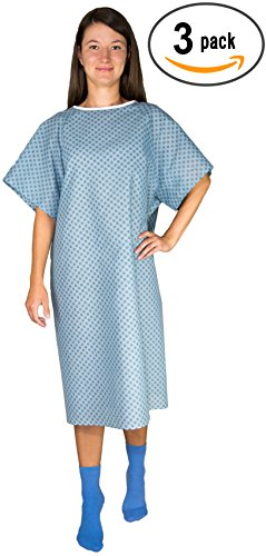 3 Pack - Blue Hospital Gown with Back Tie / Hospital Patient Gown with Ties - One Size Fits All