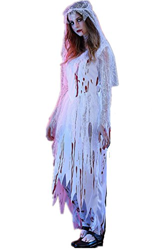 Child Ghost Bride Costume (Halloween Cosplay Masquerade Costume Bloody Ghost Bride Cosplay Dress Party Stage Costume (XL))