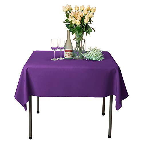 VEEYOO Square Tablecloth 100% Polyester Table Cloth for Indoor and Outdoor Table - Solid Dinner Tablecloth for Wedding Party Restaurant Coffee Shop (Purple, ()