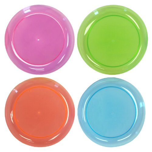 Party Essentials N92090 Brights Hard Plastic Round Buffet/Luncheon Party Plate, 9