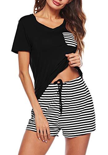 OYANUS Womens Pajamas Set Short Sleeve Striped V Neck Casual Sleepwear Pjs Sets