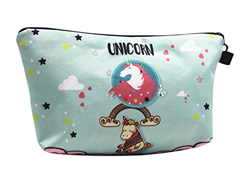 Unicorn Gifts for Girls 4 Pack - Unicorn Drawstring Backpack/Makeup Bag/Inspirational Necklace/Hair Ties (Unicorn with Rainbow) by Doctor Unicorn (Image #3)